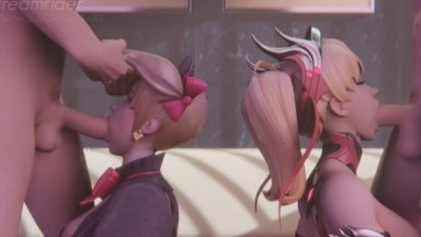 Dva Mercy double blowjob by Dreamrider rule34 Overwatch porn 3D from game HD