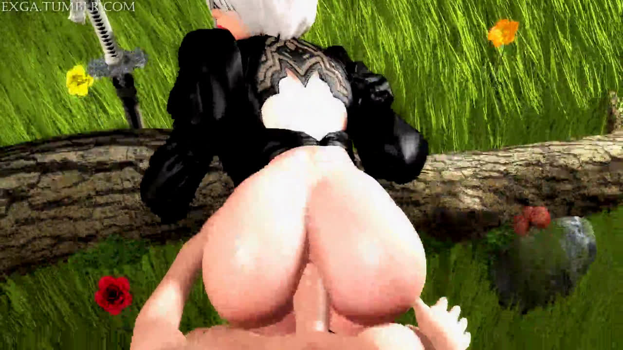 2B sex anal fuck big ass and cute anime girl