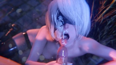 2B lipjob Facial Topless by BulgingSenpai rule34 nier automata porn
