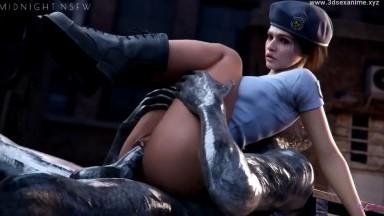 Jill ride Monstercock by Midnightnsfw rule34 Resident Evil 2021 nsfw 3D sex HD